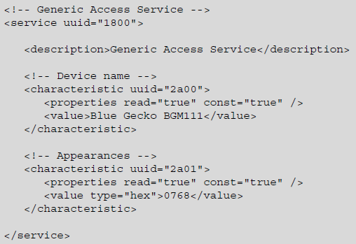 Silicon Labs Bluetooth:GATT Databaseファイル(gatt xml)について